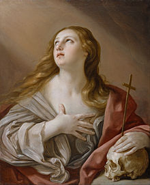Penitent Magdalene, Guido Reni, In art, Mary Magdalene is usually shown with long flowing hair, worn down over her shoulders. Her hair is over her shoulders because she possibly used her hair to cover her nakedness in the desert and to dry the feet of Jesus after washing them