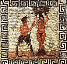 Tile mosaic of Pan and a hamadryad, found in Pompeii