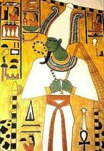 Osiris, ruler of the underworld and of rebirth and regeneration, was typically shown with a green face. (Tomb of Nefertari), 1295-1253 BC