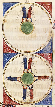 Gossuin de Metz, Image of the World, BNF Fr. 574 folio 42 [Two men walking around the spherical earth, one going to the East and the other to the West, and meeting on the opposite side.]