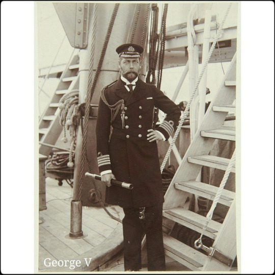George, Duke of York, later King George V, as Captain on HMS Crescent  Jun or Aug 1898 He holds telescope in right hand; taken on deck of HMS Crescent.