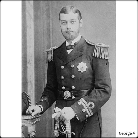 Portrait photograph of Prince George of Wales, later King George V, wearing a Lieutenant Naval uniform, 1886 Three-quarter length portrait photograph of Prince George of Wales wearing his Lieutenant Naval uniform with the Star of the Order of the Garter. The Prince is holding a pair of white gloves and the handle of his sword in his left hand, and has his right hand resting on a table.