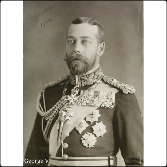 Prince George of Wales, later King George V, wearing Full Field Marshal's Uniform, 1905 . Photograph showing half length portrait of Prince George of Wales. He faces three-quarters left and wears Full Field Marshall's uniform with the Order of the Bath, Thistle and St. George.