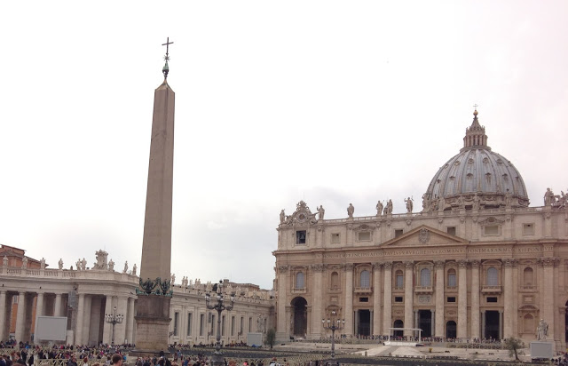 The male energy is represented by the original Egyptian obelisk in Saint Peter's Square; The female energy is represented by the dome of Saint Peter's Basilica; Also, the outside architecture of the dome resembles and ancient beehive;