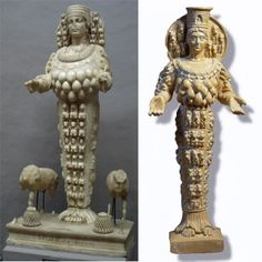 Statues of Artemis   Diana from Ephesus ('the Bee') showing Bee eggs or bull testicles, Bees and a Beehive styled headdress