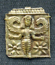 Minoan Bee Goddess, golden plaque, British Museum. Found at Camiros, Rhodes, 7th century BCE.