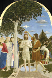"Many paintings by Piero Della Francesca, including this, ""The Baptism of Christ"" (1450), contain lenticular shaped clouds that many believe to be UFOs."