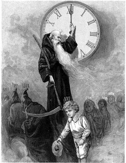 The other way in which Saturn's imagery exists in modern society is as the Grim Reaper / Father Time