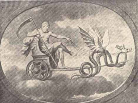Saturn (Cronus) is often depicted carrying a sickle like Father Time.