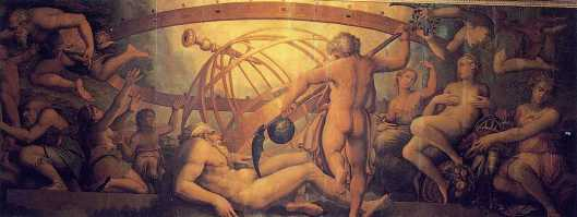 The Mutilation of Uranus by Saturn: fresco by Giorgio Vasari and Cristofano Gherardi, c. 1560