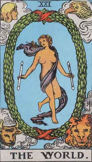 The World Tarot card is associated with the planet Saturn, which rules over Saturday, also known as Saturn's Day