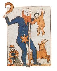 This medieval illustration shows the Roman god Saturn in the traditional guise of an old man. The Zodiacal signs under his influence, Aquarius and Capricorn, are depicted on his left and right, respectively. He holds the sickle with which his Greek counterpart, Cronus, castrated his father. Saturn was the god of agriculture, justice and strength.