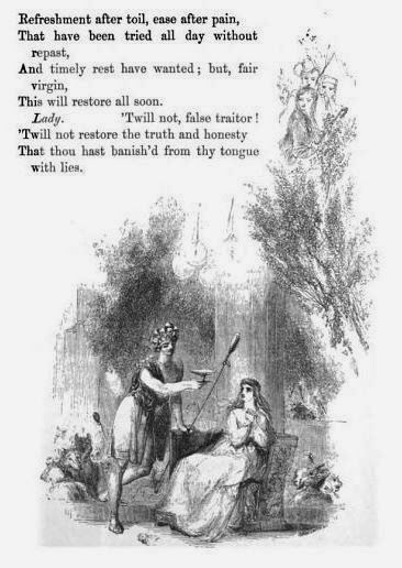 Sabrina encounters the debauched Comus while lost in the wood (pg 167)  from The Poetical Works of John Milton, Vol 2, with Memoir and Critical Remarks by James Montgomery, W. Kent & Co (London), 1859