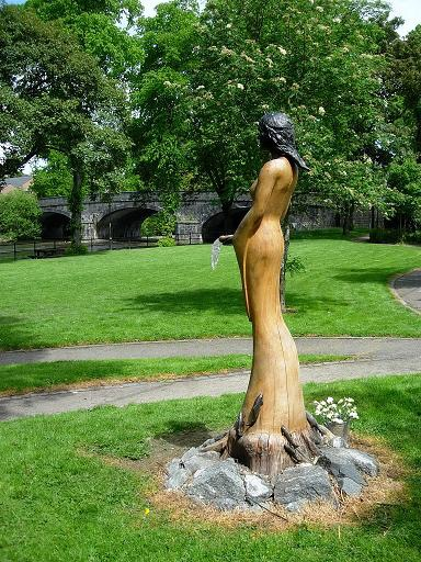 Statue of Sabrina in the park by the river. According to Celtic mythology, Sabrina is the water nymph who inhabits the River Severn .  Llanidloes