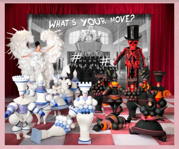 A game of life and death.  Oskar Schlemmer's mechanical gures are like chess pieces in some nal confrontation. Are they people? Are they machines? A destructive sex goddess seduces the masses in the background. The black and white machine-people must choose their next move wisely.